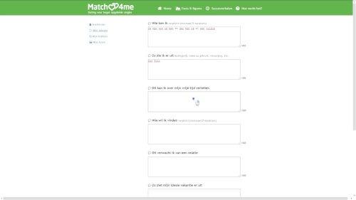 vrije tekst velden datingsite